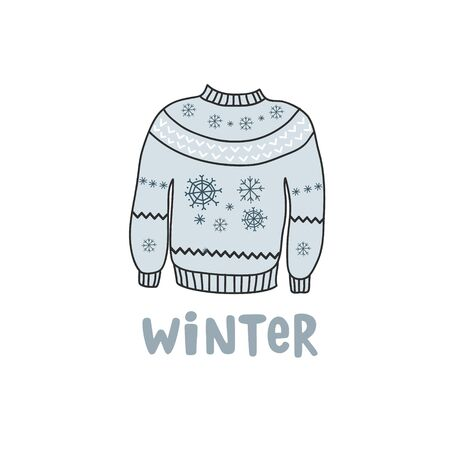 Blue winter warm sweater with snowflakes. Vector color freehand drawing in doodle style. Inscription winter. Çizim