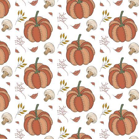 Autumn pattern with pumpkins, champignon mushrooms, leaves, berries. Vector forest ornament.