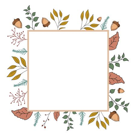 Autumn frame with leaves and plants. Vector color illustration. Greeting card design.