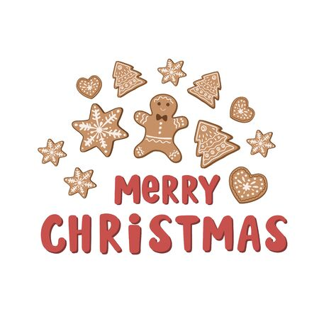 Merry Christmas. Holiday card design with gingerbread cookie, gingerbread man and the inscription. Vector illustration with lettering