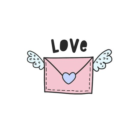 Envelope with a love message with wings. Valentines Day. Color vector illustration in doodle style