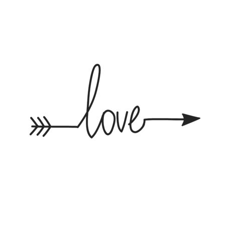 Typography. word love with arrow. hand drawn Lettering. Çizim