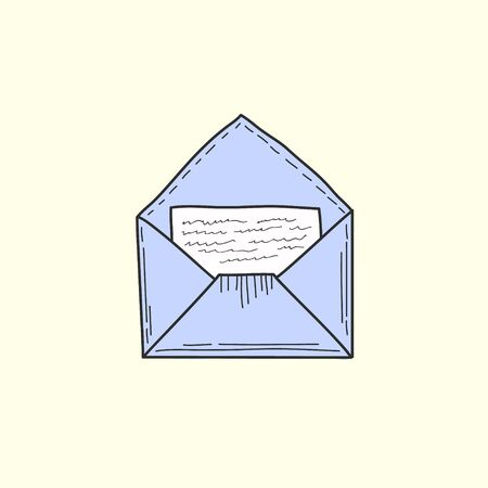 Open envelope with a letter inside. Mail symbol. Colored Vector illustration in doodle style.