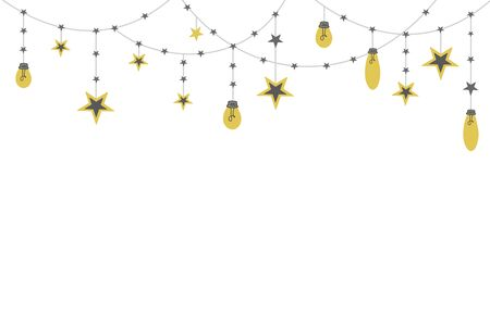 Festive background with a garland with stars. Vector illustration in doodle style. Illustration for scandinavian design