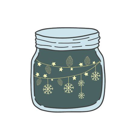 Jar with stars and snowflakes. Vector doodle style doodle. Festive fashion design.