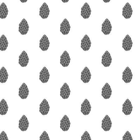 pattern with fir cones. Vector Simple minimalistic ornament. Black and white pattern.