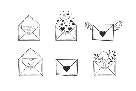 A set of envelopes. Vector illustration of hands in doodle style. Drawings of letters.