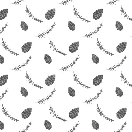 Vector pattern with fir cones fir branches. Simple minimalistic ornament.