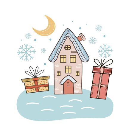 Christmas vector illustration. Christmas night. Freehand color drawing. House, gifts and the moon.