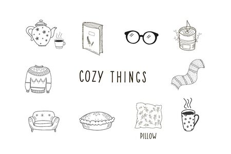 Cozy things. Set of vector hand drawn illustration in doodle style. Çizim