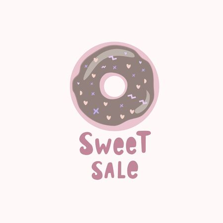 Sweet sales. Pink donut with the inscription. Colored Vector illustration.