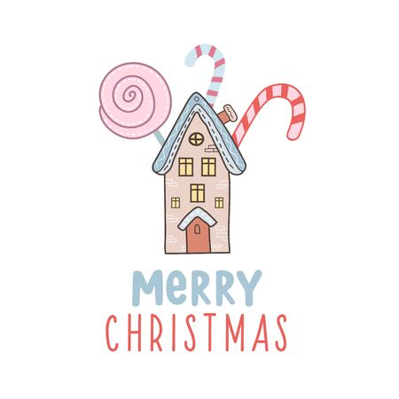 Merry Christmas. House and candy cane. Vector illustration with lettering. Holiday card design.