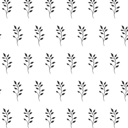 Vector pattern with branches with leaves. Floral minimalistic ornament on a white background.