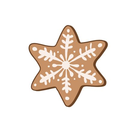 Gingerbread cookie in the form of a star. Vector color illustration by hand. Christmas sweets. Çizim