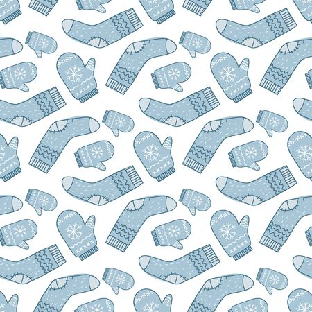 Pattern with mittens and socks. Vector ornament by hand. Christmas design.