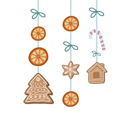Christmas decoration. Vector illustration in doodle style. Holiday design. Gingerbread Cookies, Dried Oranges, Candy Cane