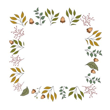 Autumn frame with leaves, acorns and plants. Vector color illustration. Postcard template.