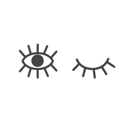 Open and closed eye in doodle style. Vector illustration.