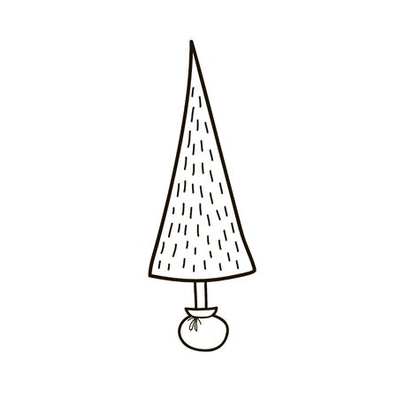 Stylized drawing of a Christmas tree. Vector linear illustration in doodle style Çizim