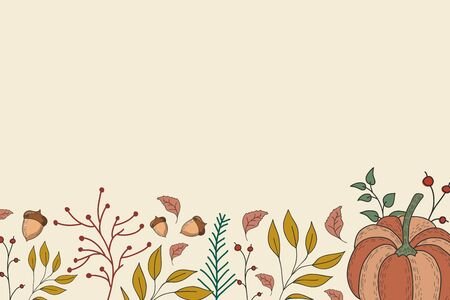 Autumn background with leaves, berries, pumpkins and acorns. Vector color illustration. Horizontal background. Autumn festival