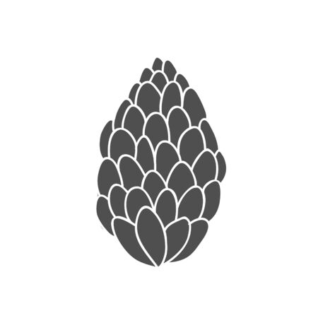 Illustration of a fir cone. Vector linear drawing by hand.Fir cone symbol. Çizim