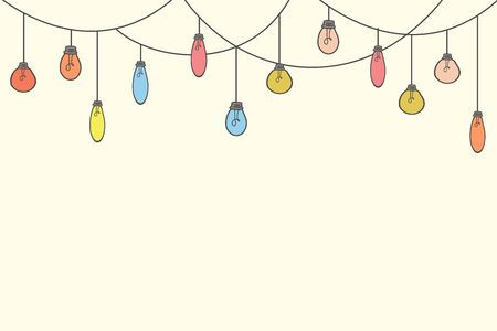 Festive background with light bulbs. Vector illustration in doodle style. Illustration for design.