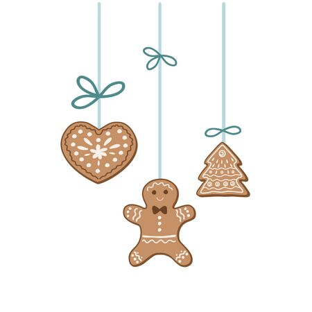 Christmas decorations. Gingerbread cookies. Vector freehand illustration Çizim