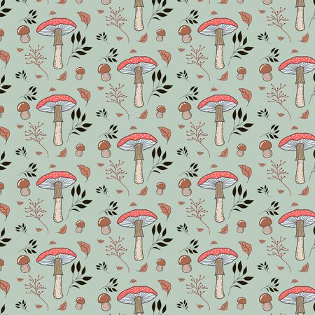 Vector pattern with forest mushrooms, Amanita mushroom, plants, leaves. Green background. Botanical illustration by hand