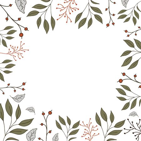 Frame of green leaves and red berries. Freehand vector illustration. Botanic design for postcard or banner Çizim