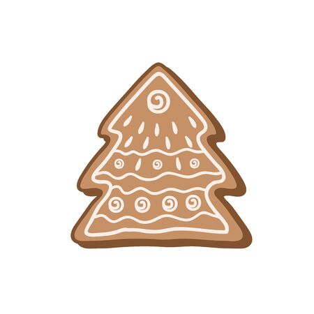 Gingerbread cookie in the form of a Christmas tree. Color vector illustration by hand. Christmas sweetness Çizim