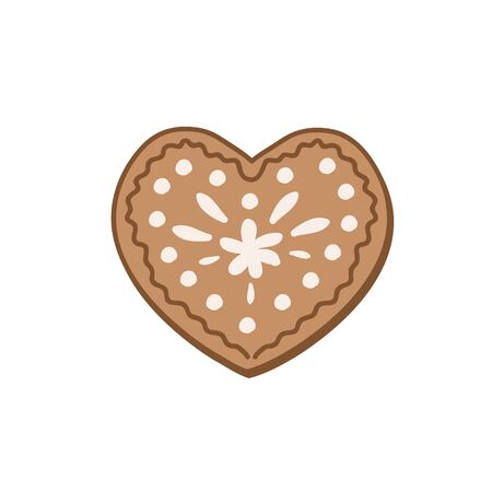 Heart shaped gingerbread cookie. Color vector illustration by hand. Christmas sweetness Çizim