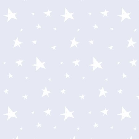 Pattern with white stars on a blue background. Vector ornament in doodle style Ilustrace
