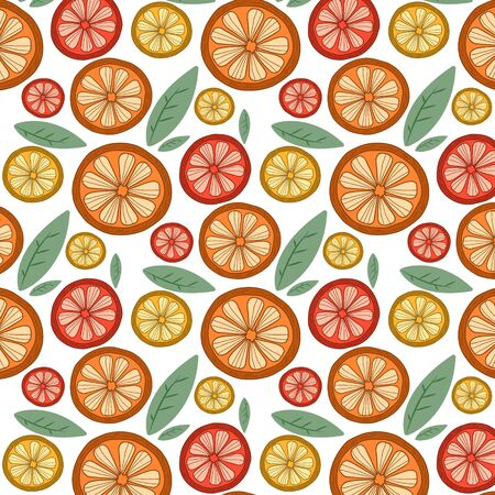 Citrus pattern. Vector ornament with fruits. Drawing oranges, lemons and grapefruits.