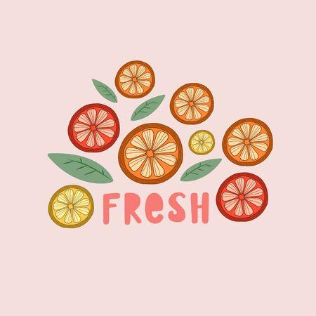 Vector illustration with citruses. The inscription is fresh. Figure lemons, oranges, grapefruits