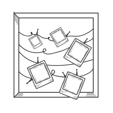 Pictures framed on a clothespin. Vector linear illustration in doodle style.