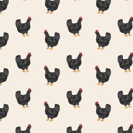 Chicken pattern. Vector minimalistic ornament with black chicken in flat style. Cartoon drawing. Farm animals.
