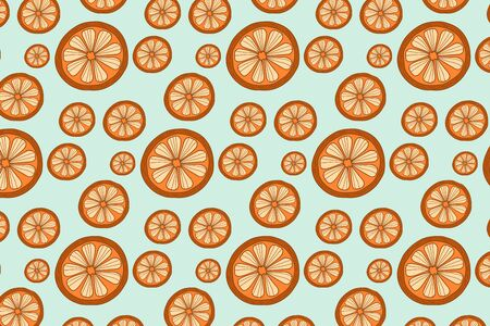 Vector pattern with oranges fruit. Vector ornament with citruses
