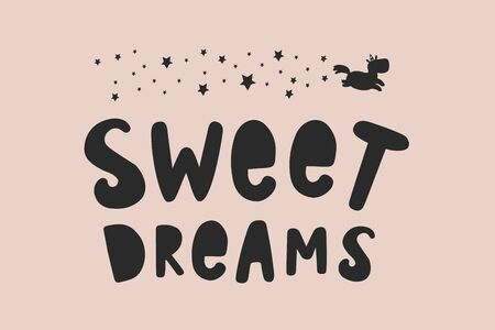 Sweet Dreams. Vector lettering with a silhouette of stars and a unicorn. Vector freehand illustration in doodle style Foto de archivo - 137066932