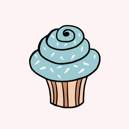 Cream Cupcake. Vector color sketch in cartoon style. Illustration of cupcake with blue cream in doodle style  イラスト・ベクター素材