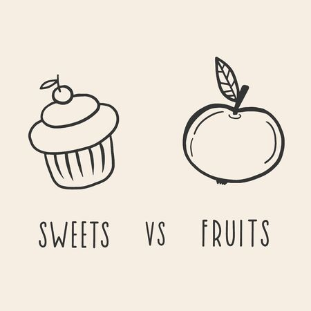 Cake and apple. Sweets versus fruits. Vector linear illustration with apple and cupcake.