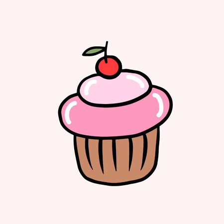 Cupcake with cream and cherry. Vector color sketch in cartoon style. Illustration of cupcake in doodle style