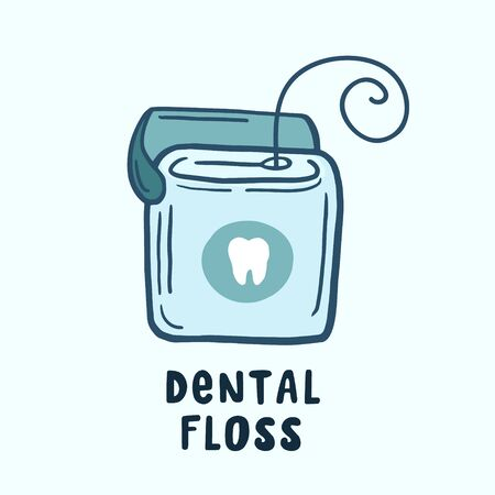 Dental floss. Vector color sketch in cartoon style. Freehand illustration. 向量圖像