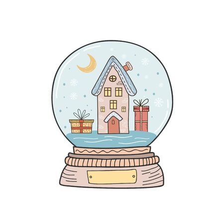 Christmas crystal ball with House with Christmas gifts. Stock Illustratie