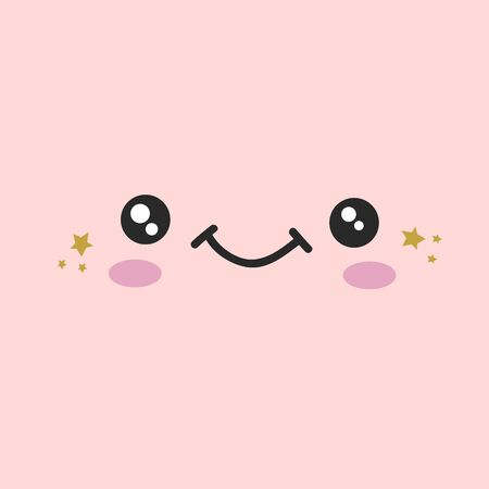 Cute face design. design with a smiling face. Illustration in cartoon style.