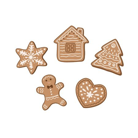 Set of gingerbread cookies. Vector illustration of gingerbread cookies in the form of a Christmas tree, a house, stars, gingerbread men. Christmas sweets  イラスト・ベクター素材