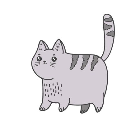 Cute cat. Vector color freehand illustration in doodle style