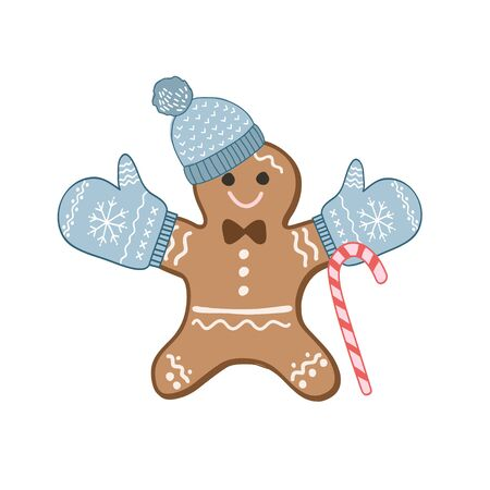 Gingerbread man in mittens and a hat. Color vector illustration by hand. Christmas sweetness