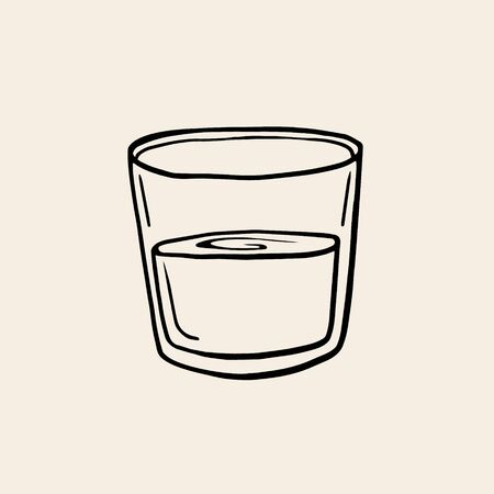 Glass of water. Vector linear illustration in sketch style. Glass cup with water. Freehand drawing