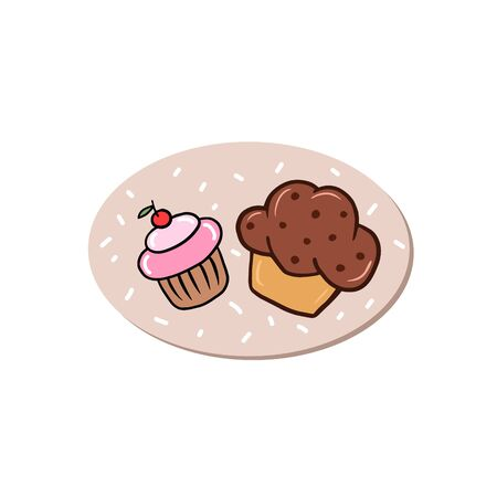 Cake logo. Vector color illustration of cupcakes in cartoon style. Drawing for cafes and restaurants.