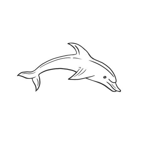 Delfín. Dibujo lineal vectorial de un delfín en estilo doodle. Ilustración a mano alzada